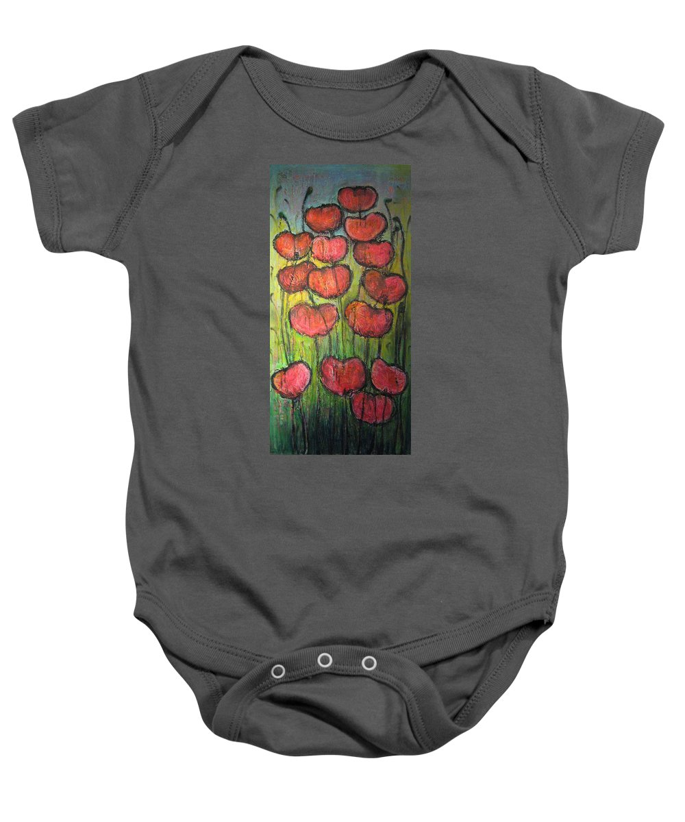 Poppies Baby Onesie featuring the painting Poppies In Oil by Laurie Maves ART