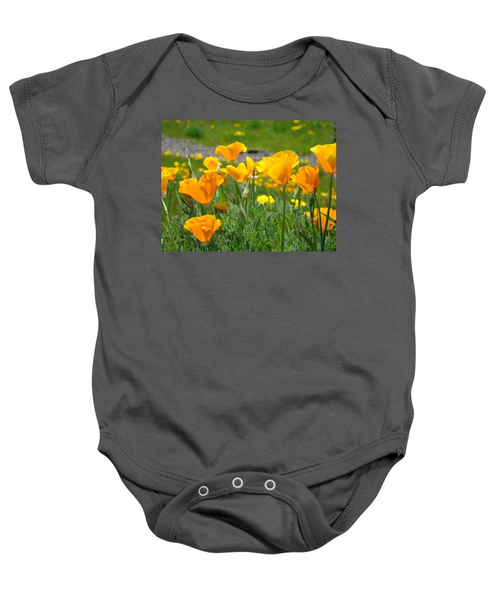 �poppies Artwork� Baby Onesie featuring the photograph Poppies Meadow Summer Poppy Flowers 18 Wildflowers Poppies Baslee Troutman by Baslee Troutman
