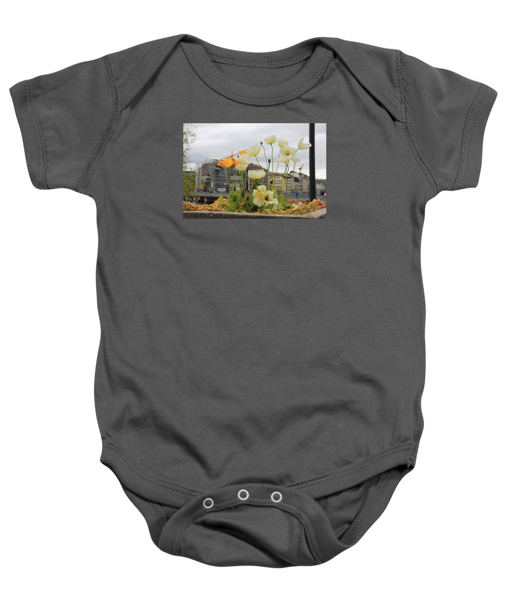 Geneva Baby Onesie featuring the photograph Poppies by Nurlan Alymbaev