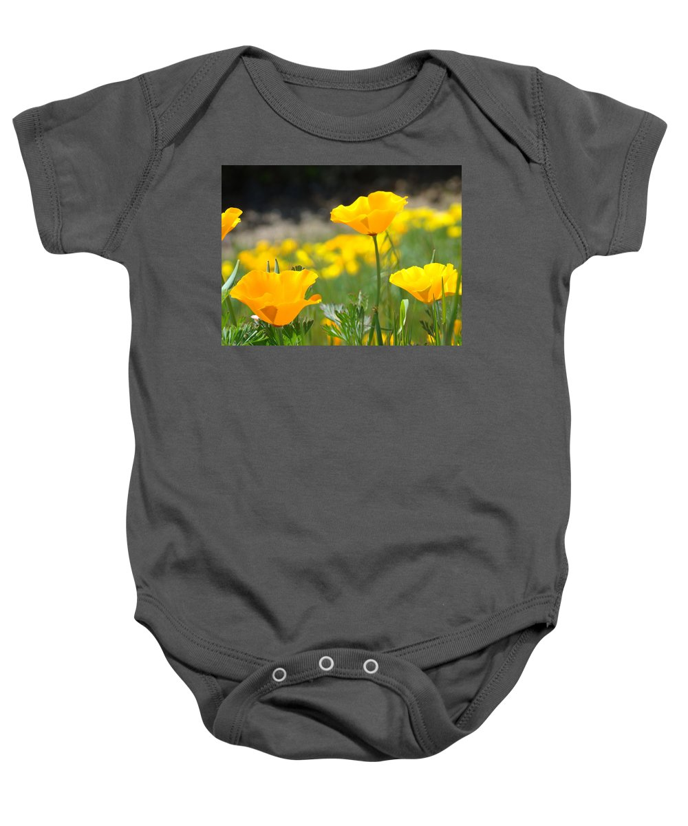 �poppies Artwork� Baby Onesie featuring the photograph Poppy Flower Meadow 11 Poppies Art Prints Canvas Framed by Baslee Troutman