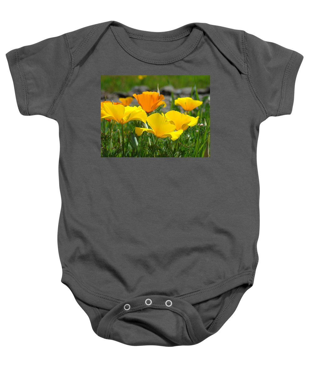 �poppies Artwork� Baby Onesie featuring the photograph Poppy Flower Meadow 14 Poppies Orange Flowers Giclee Art Prints Baslee Troutman by Baslee Troutman