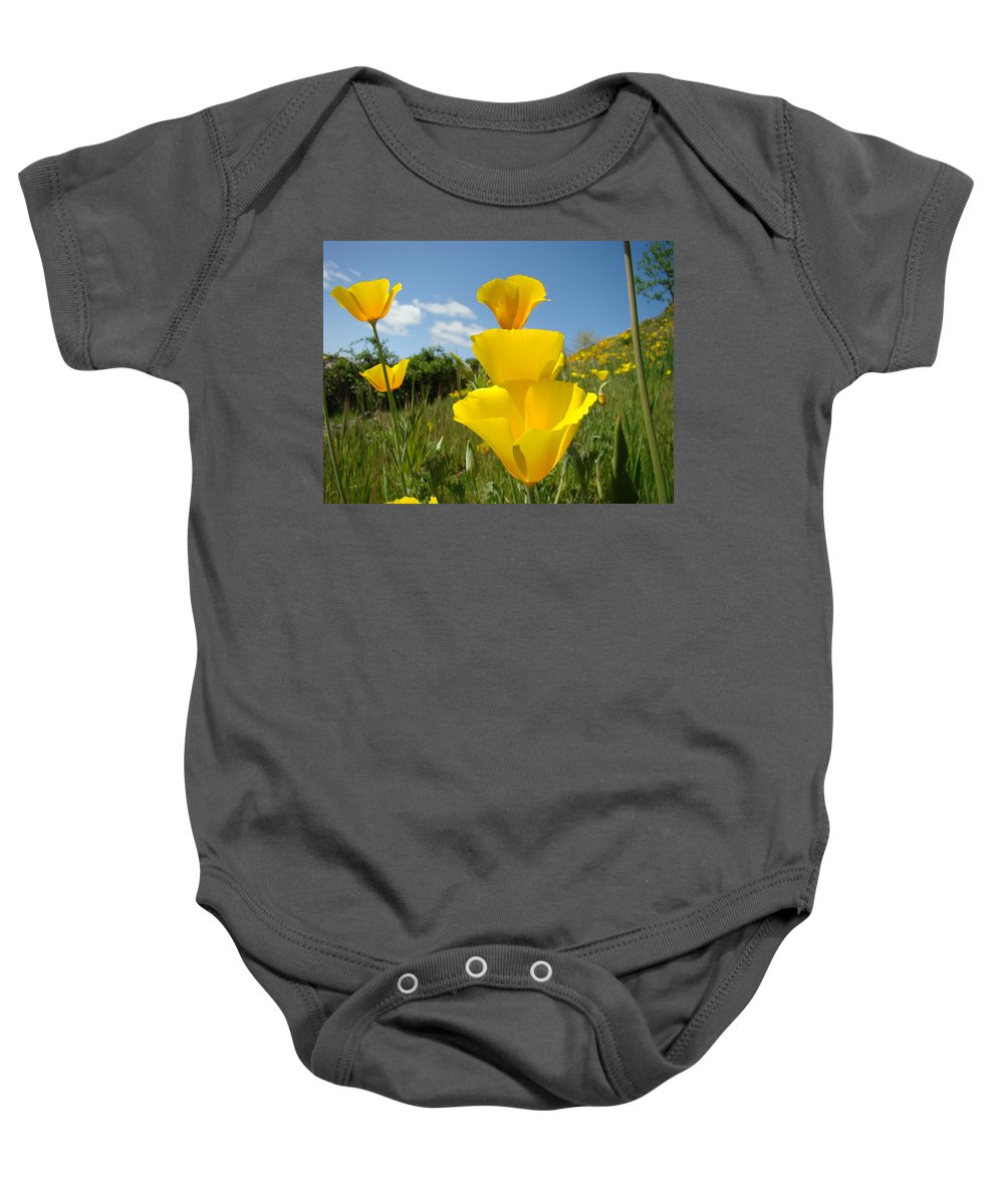 �poppies Artwork� Baby Onesie featuring the photograph Poppy Flower Meadow 7 Poppies Blue Sky Artwork Baslee Troutman by Baslee Troutman