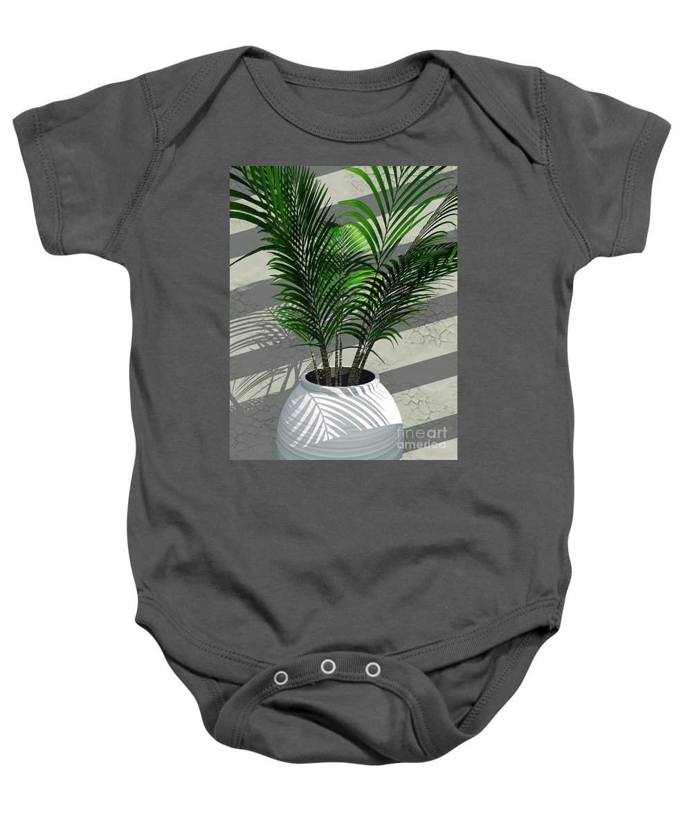 Palms Baby Onesie featuring the digital art Porch Plant by Richard Rizzo