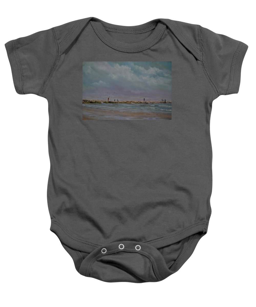 Port Aransas Baby Onesie featuring the painting Port Aransas Jetty In by Karen Butcher