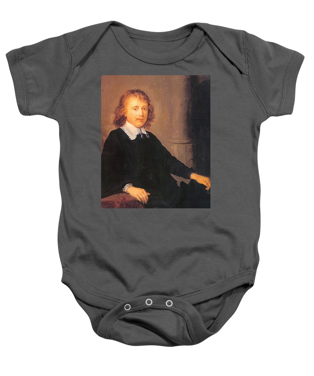 Portrait Baby Onesie featuring the painting Portrait Of A Man by Dou Gerrit