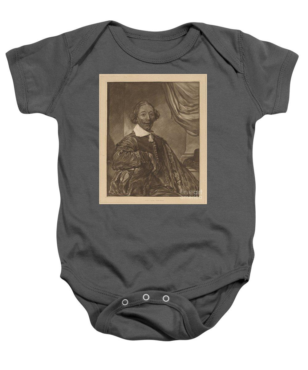 Baby Onesie featuring the drawing Portrait Of A Seated Man by Cornelis Ploos Van Amstel And Johannes Kornlein After Cornelis Visscher