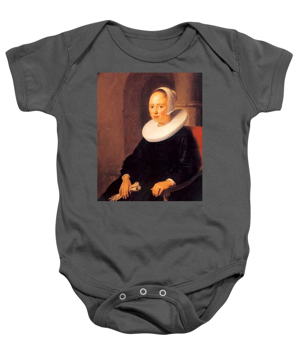 Portrait Baby Onesie featuring the painting Portrait Of A Woman 1646 by Dou Gerrit