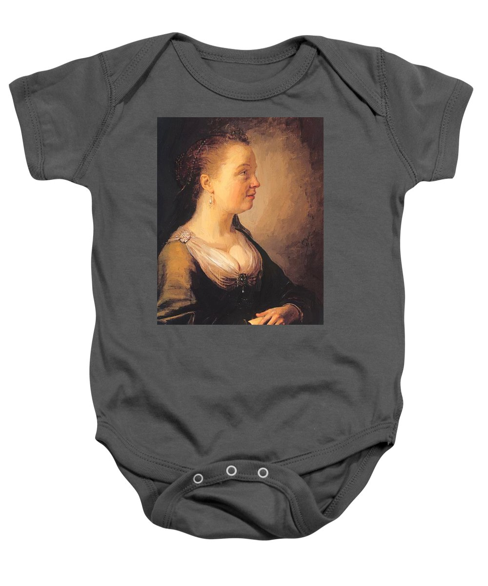 Portrait Baby Onesie featuring the painting Portrait Of A Young Woman 1640 by Dou Gerrit