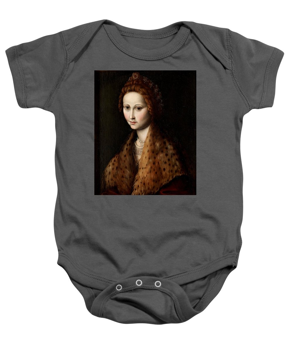 Francesco Bachiacca Baby Onesie featuring the painting Portrait Of A Young Woman Wearing A Robe With A Fur Collar by Francesco Bachiacca