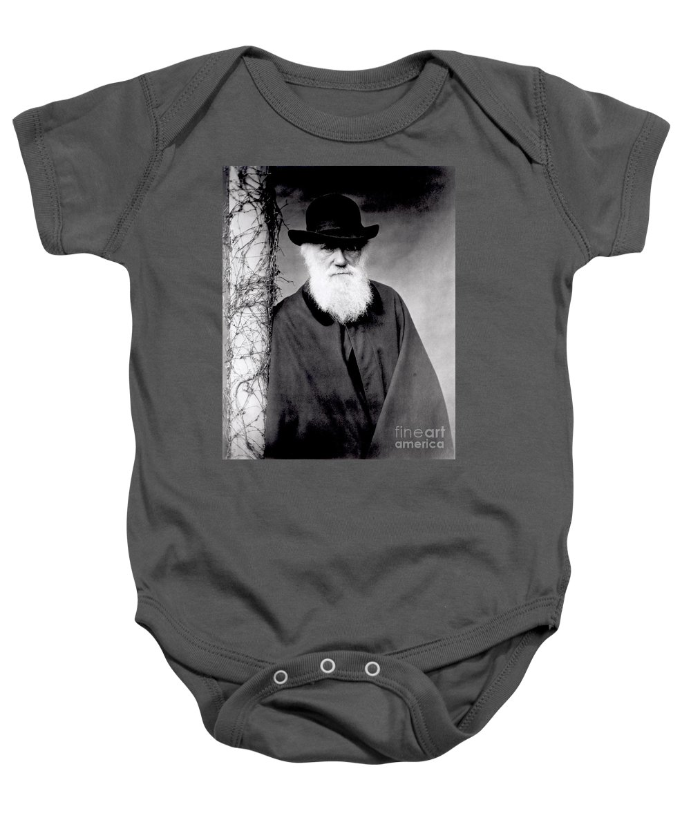 Portrait Of Charles Darwin (1809-82) 1881 (b/w Photo) By Julia Margaret Cameron (1815-79) Baby Onesie featuring the photograph Portrait Of Charles Darwin by Julia Margaret Cameron