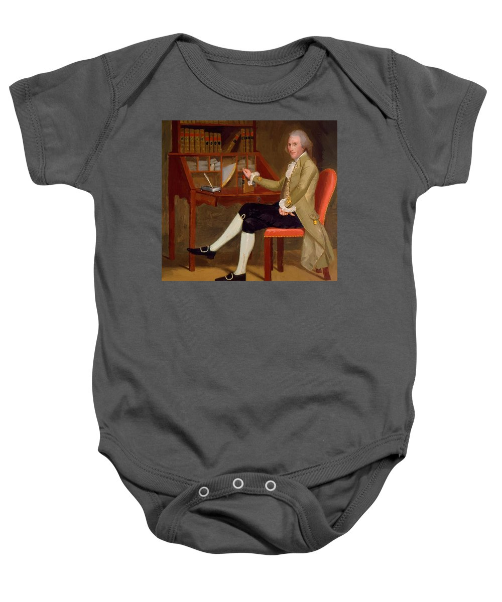 Portrait Baby Onesie featuring the painting Portrait Of David Baldwin 1790 by Earl Ralph