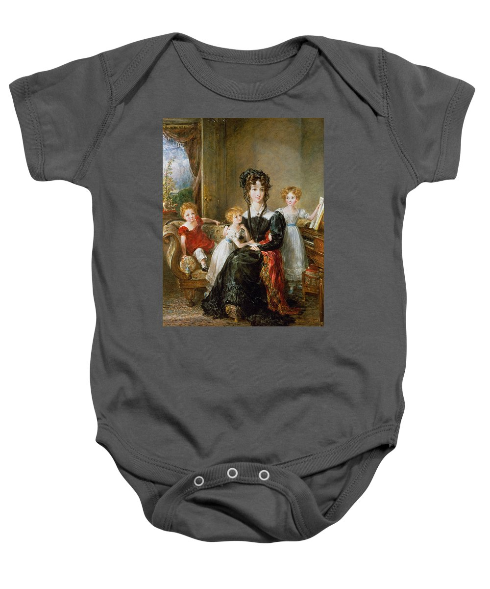 Portrait Baby Onesie featuring the painting Portrait Of Elizabeth Lea And Her Children by John Constable