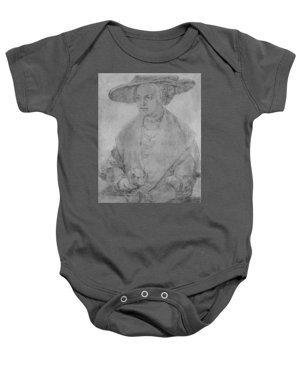 Portrait Baby Onesie featuring the painting Portrait Of Susanne Von Brandenburg Ansbach by Durer Albrecht