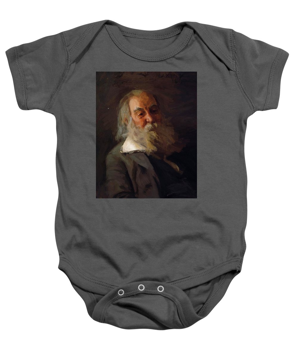 Portrait Baby Onesie featuring the painting Portrait Of Walt Whitman 1887 by Eakins Thomas