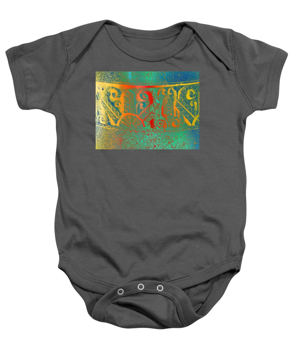 Abstract Baby Onesie featuring the photograph Pottery On The Street by Lenore Senior