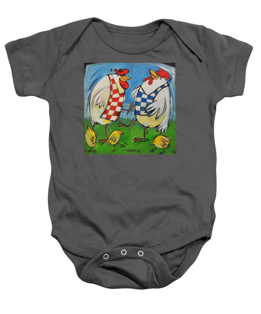 Hens Baby Onesie featuring the painting Poultry In Motion by Tim Nyberg