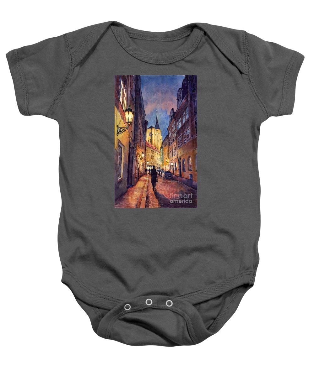 Architecture Baby Onesie featuring the painting Prague Husova Street by Yuriy Shevchuk