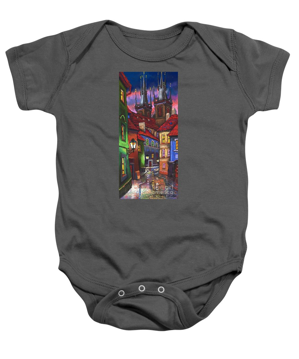 Pastel Baby Onesie featuring the painting Prague Old Street 01 by Yuriy Shevchuk