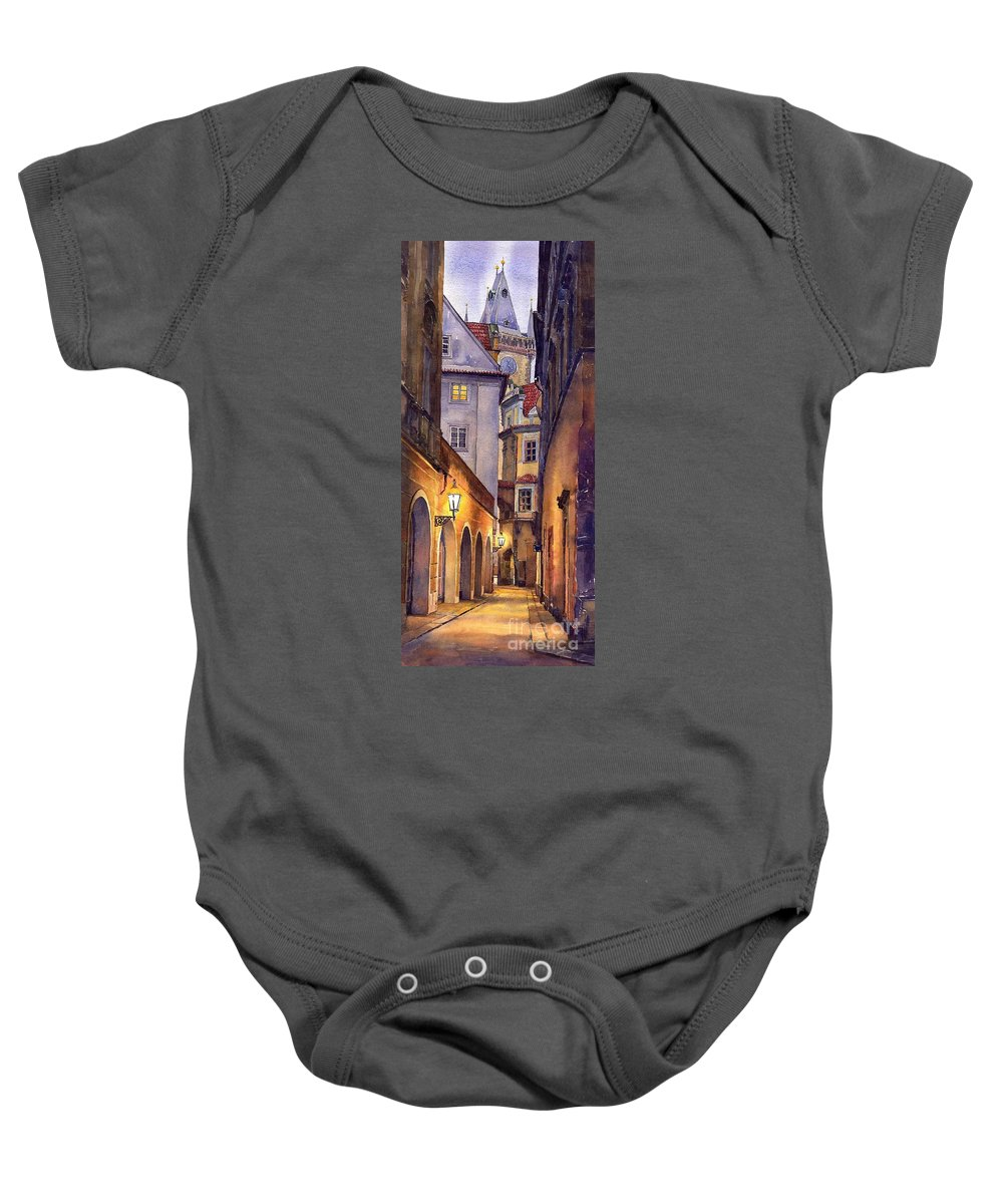 Cityscape Baby Onesie featuring the painting Prague Old Street by Yuriy Shevchuk