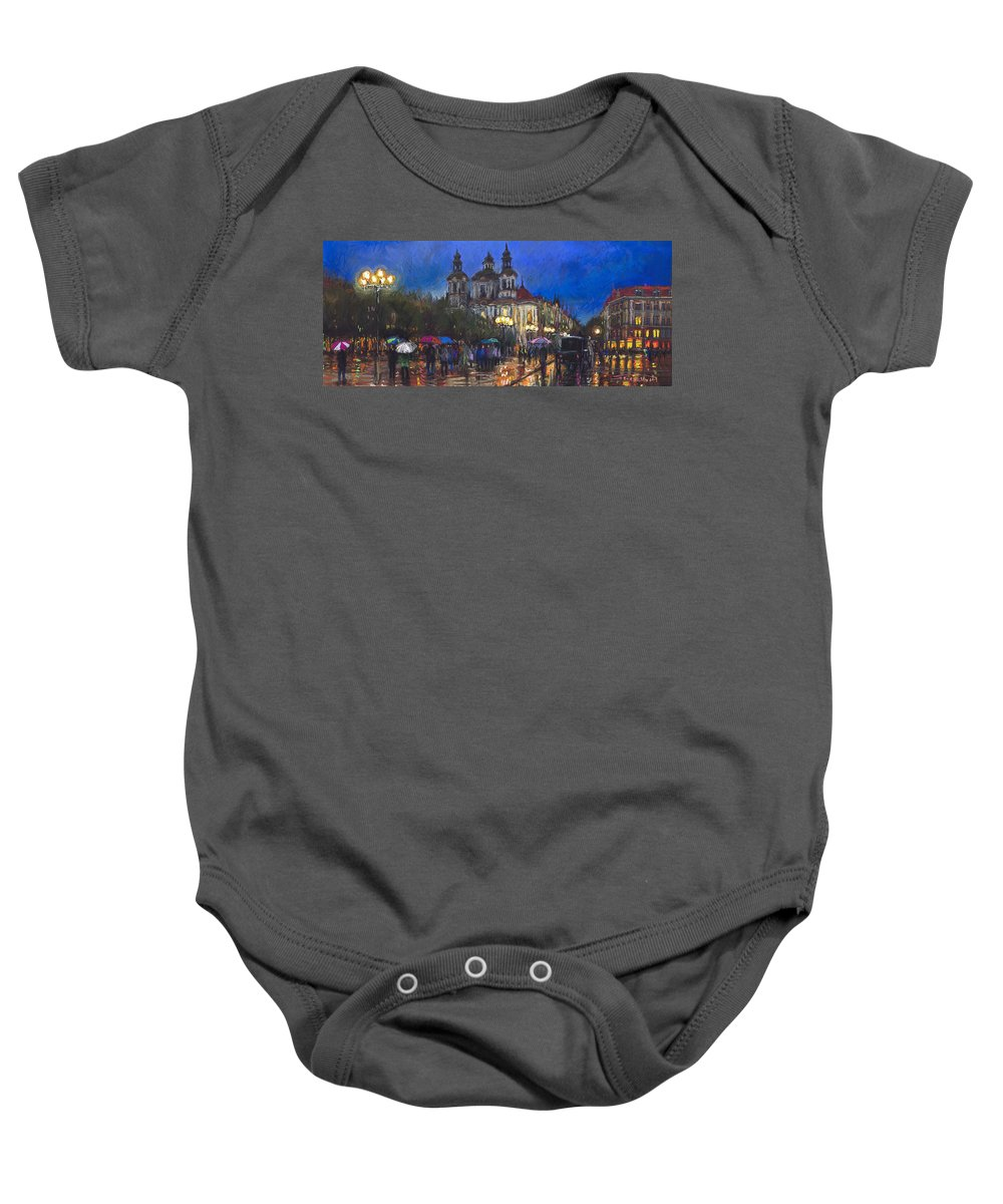 Prague Baby Onesie featuring the pastel Prague Old Town Square St Nikolas Ch by Yuriy Shevchuk