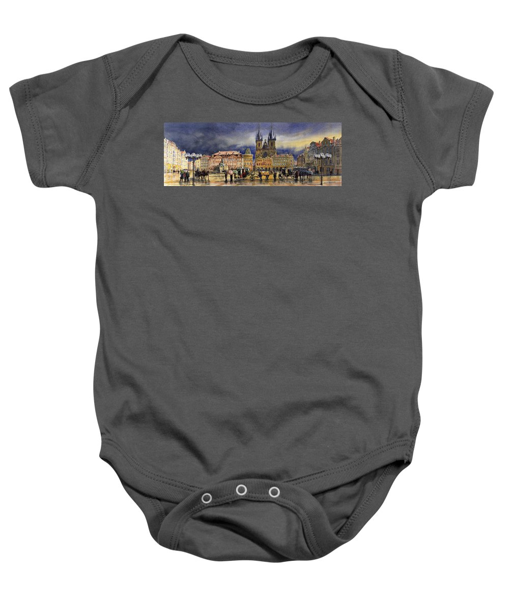 Watercolor Baby Onesie featuring the painting Prague Old Town Squere After Rain by Yuriy Shevchuk