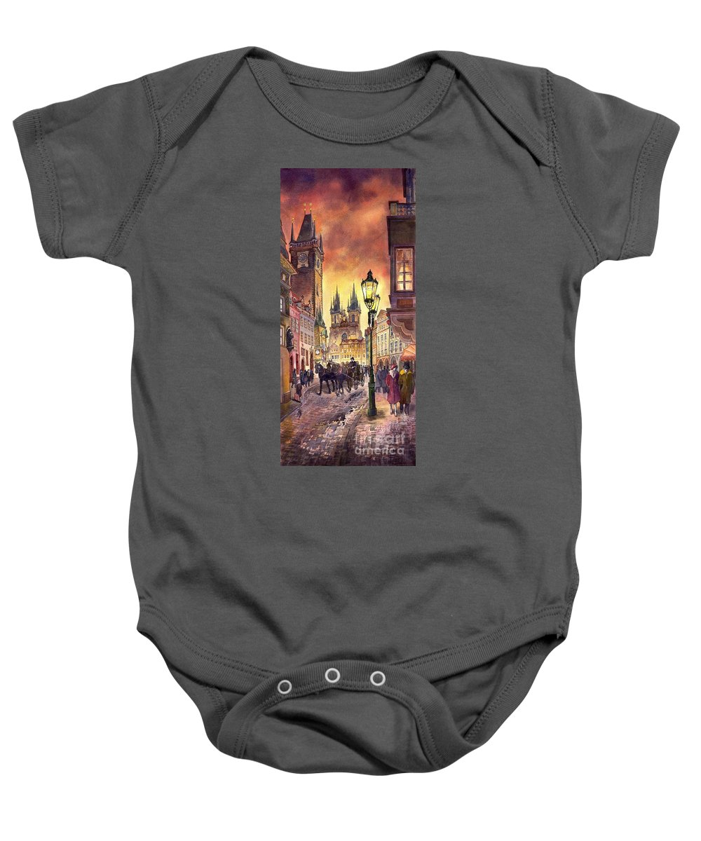 Cityscape Baby Onesie featuring the painting Prague Old Town Squere by Yuriy Shevchuk