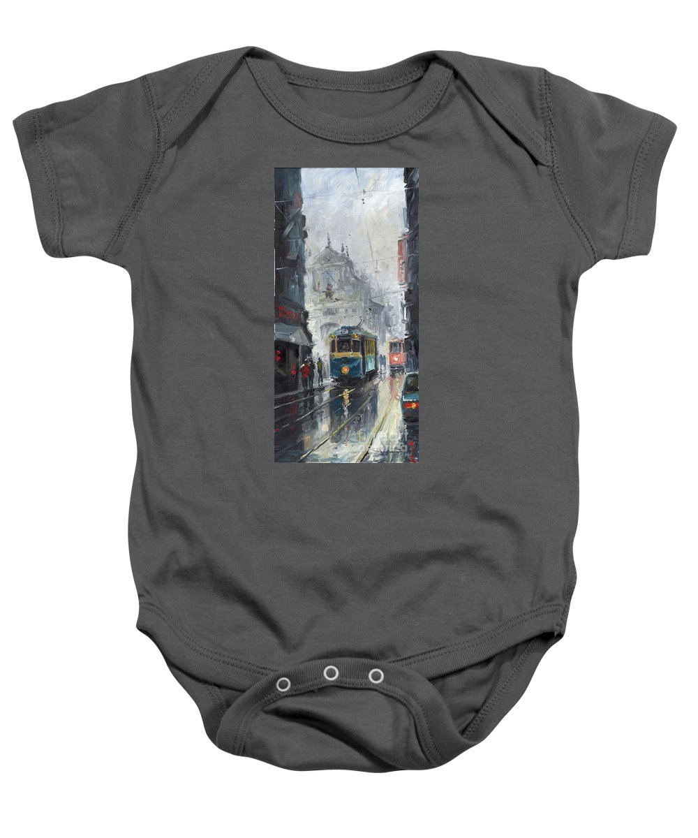 Oil On Canvas Baby Onesie featuring the painting Prague Old Tram 04 by Yuriy Shevchuk