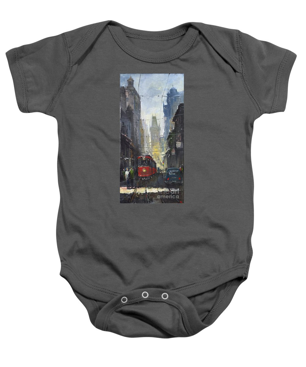 Oil On Canvas Paintings Baby Onesie featuring the painting Prague Old Tram 05 by Yuriy Shevchuk