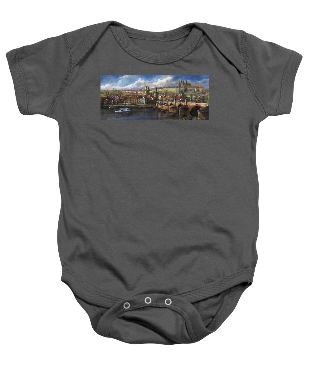 Pastel Baby Onesie featuring the painting Prague Panorama Charles Bridge Prague Castle by Yuriy Shevchuk