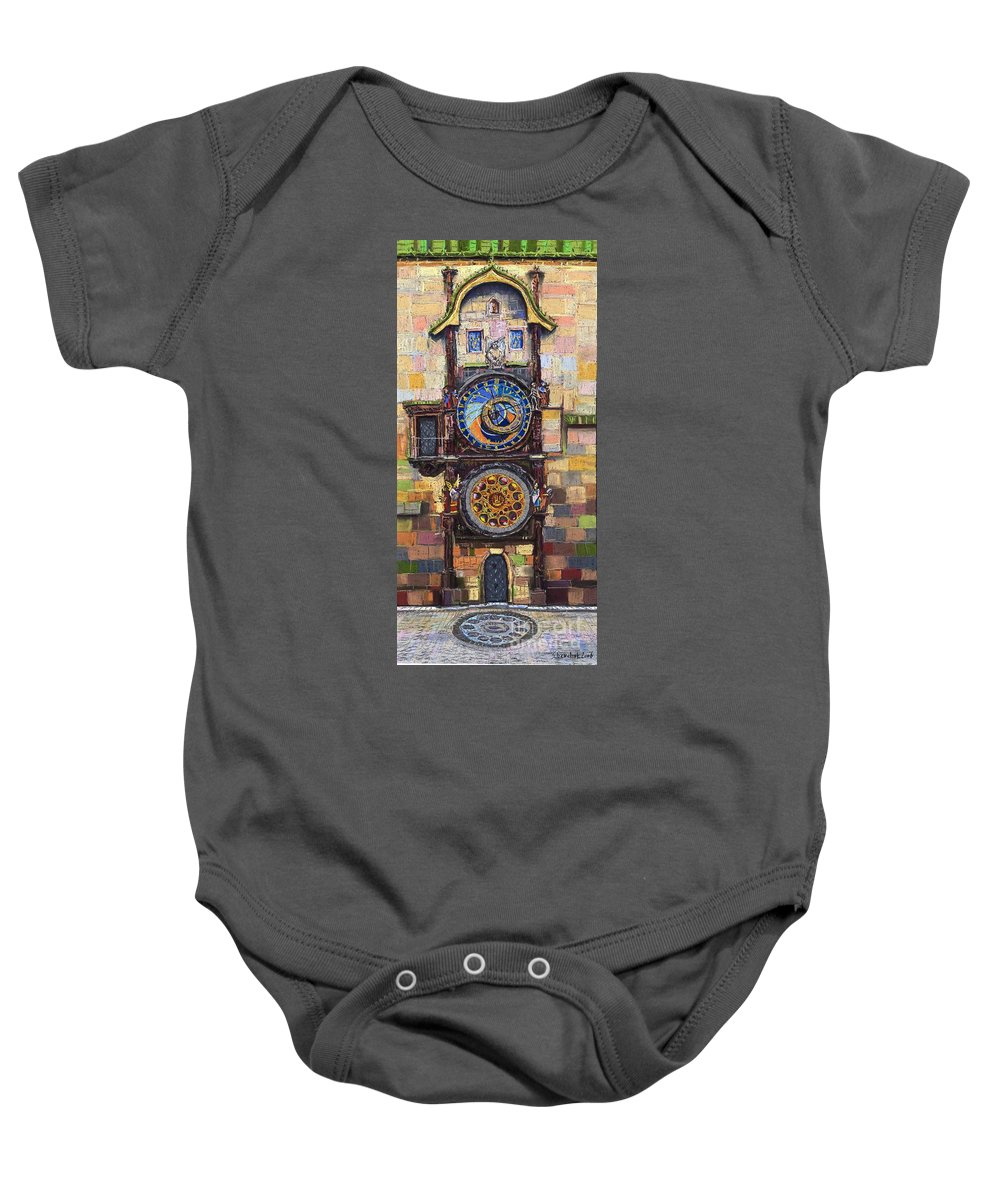 Cityscape Baby Onesie featuring the painting Prague The Horologue At Oldtownhall by Yuriy Shevchuk