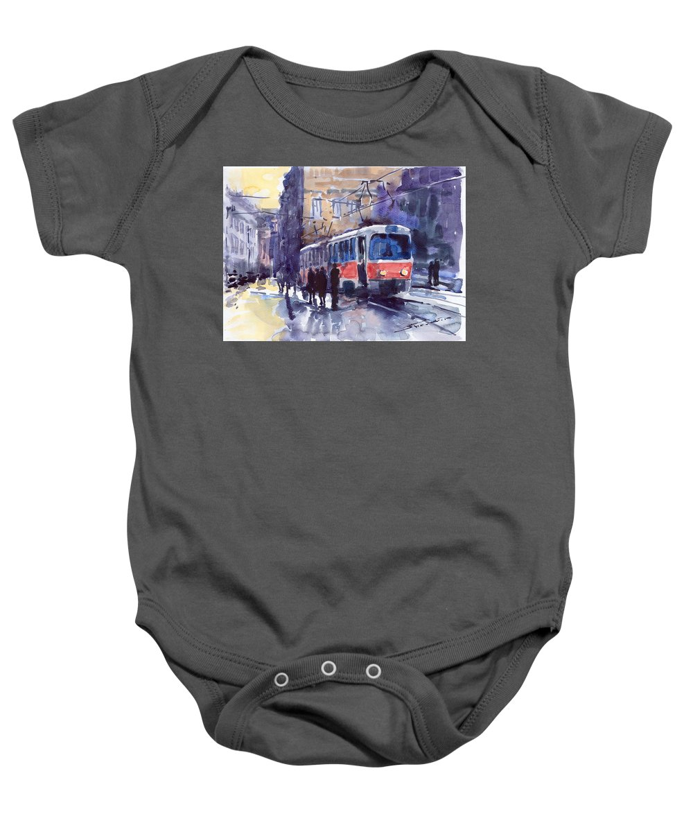 Cityscape Baby Onesie featuring the painting Prague Tram 02 by Yuriy Shevchuk