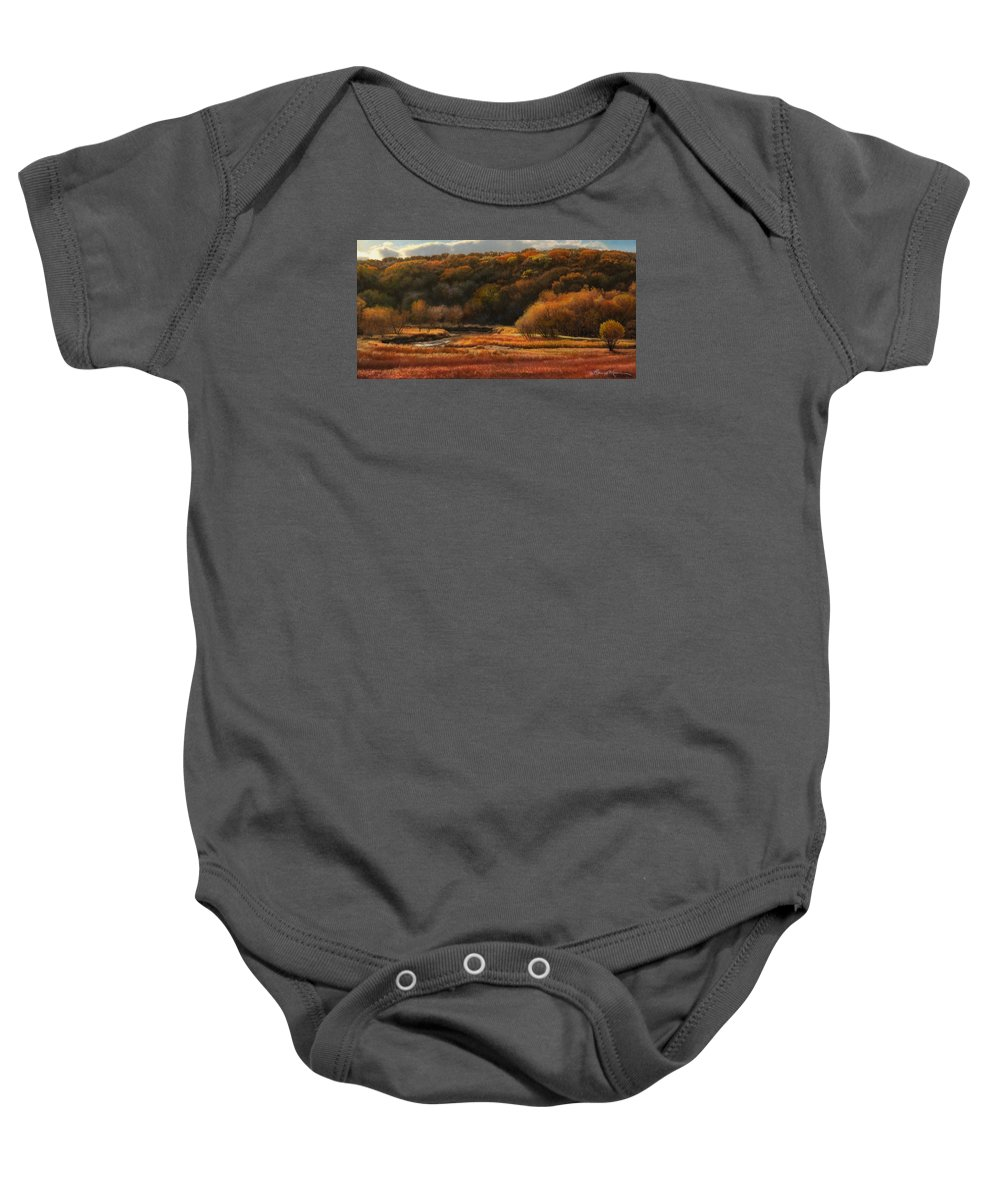 Autumn Landscape Drawings Baby Onesie featuring the drawing Prairie Autumn Stream No.2 by Bruce Morrison