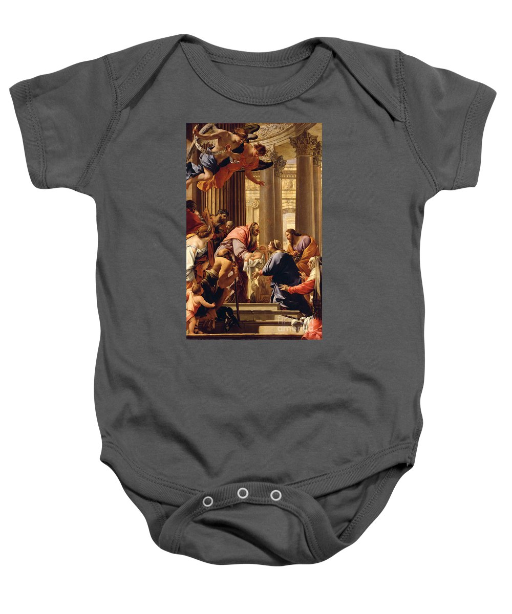 Presentation In The Temple (oil On Canvas) Jesus Christ; Mary; Joseph; Infant; Baby; Angels Baby Onesie featuring the painting Presentation In The Temple by Simon Vouet