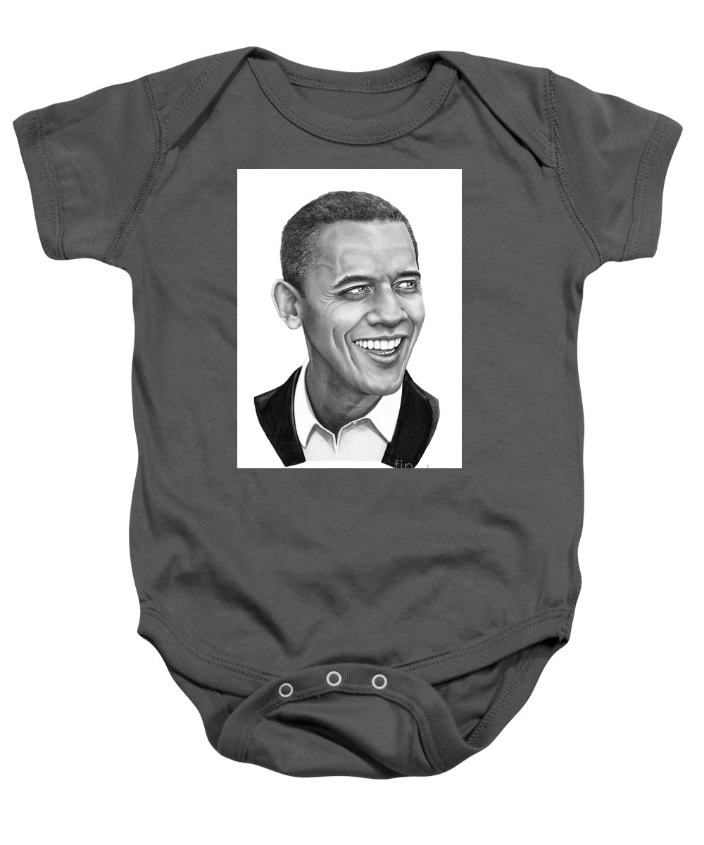 Drawing Baby Onesie featuring the drawing President Barack Obama by Murphy Elliott
