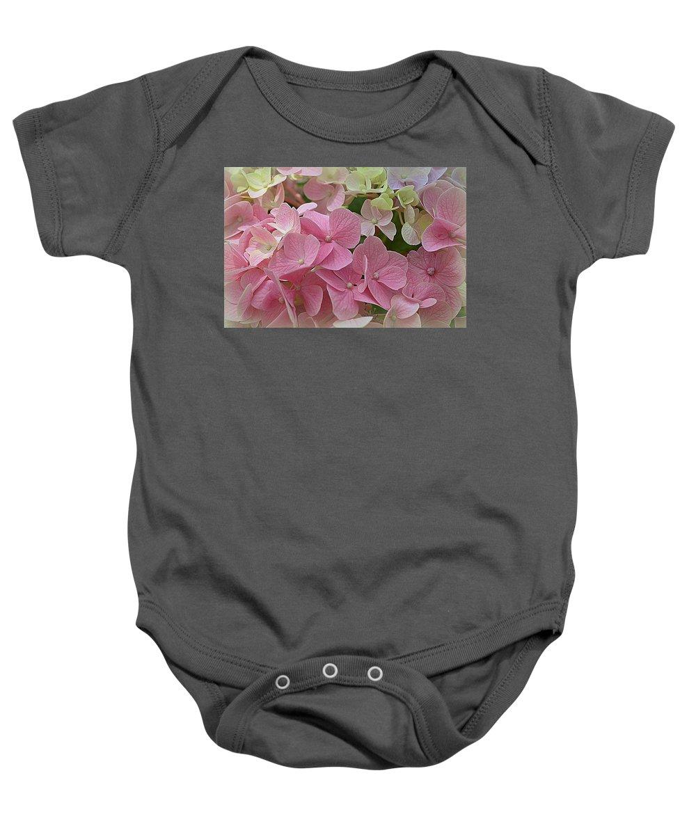 Hydrangeas Baby Onesie featuring the photograph Pretty In Pink Hydrangeas by Linda Covino
