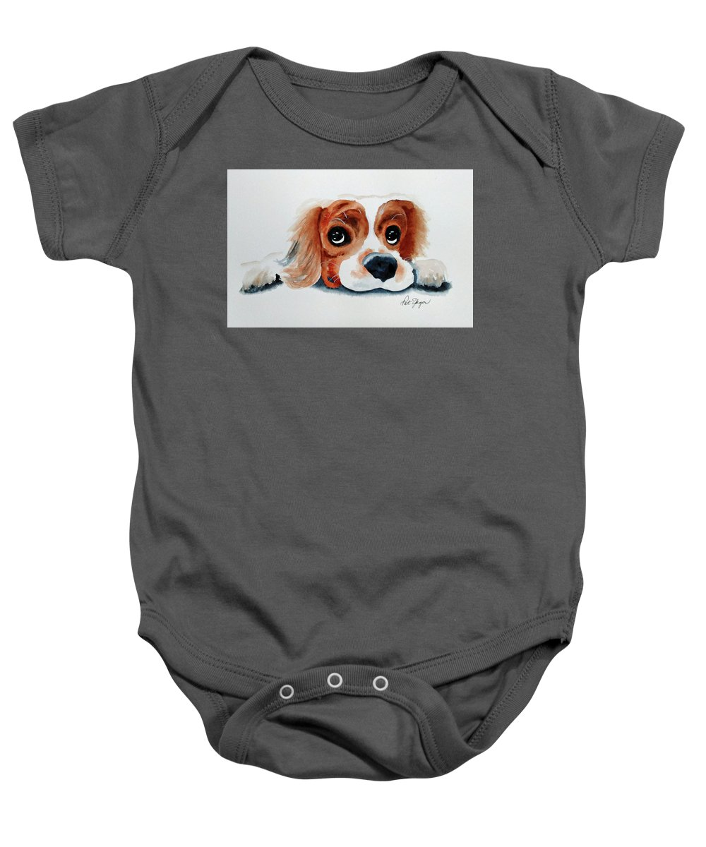 King Charles Cavalier Baby Onesie featuring the painting Pretty Please? by Pat Yager