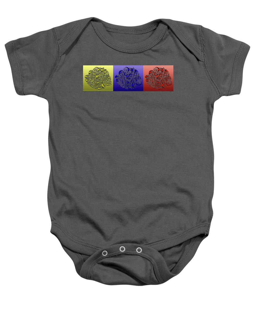 Abstract Baby Onesie featuring the digital art Primary Colors by Mark Sellers