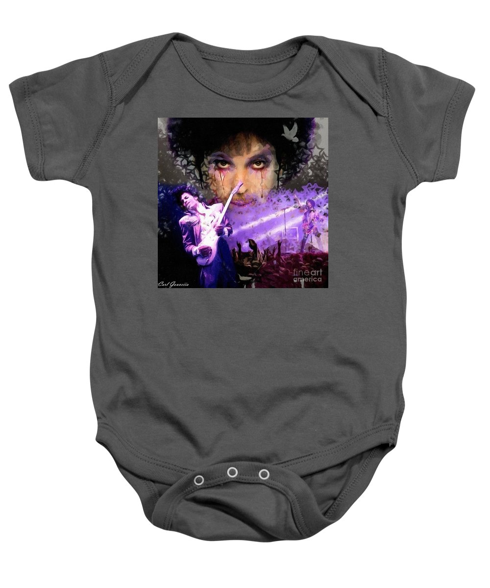 Prince Art Baby Onesie featuring the painting Prince Art by Carl Gouveia