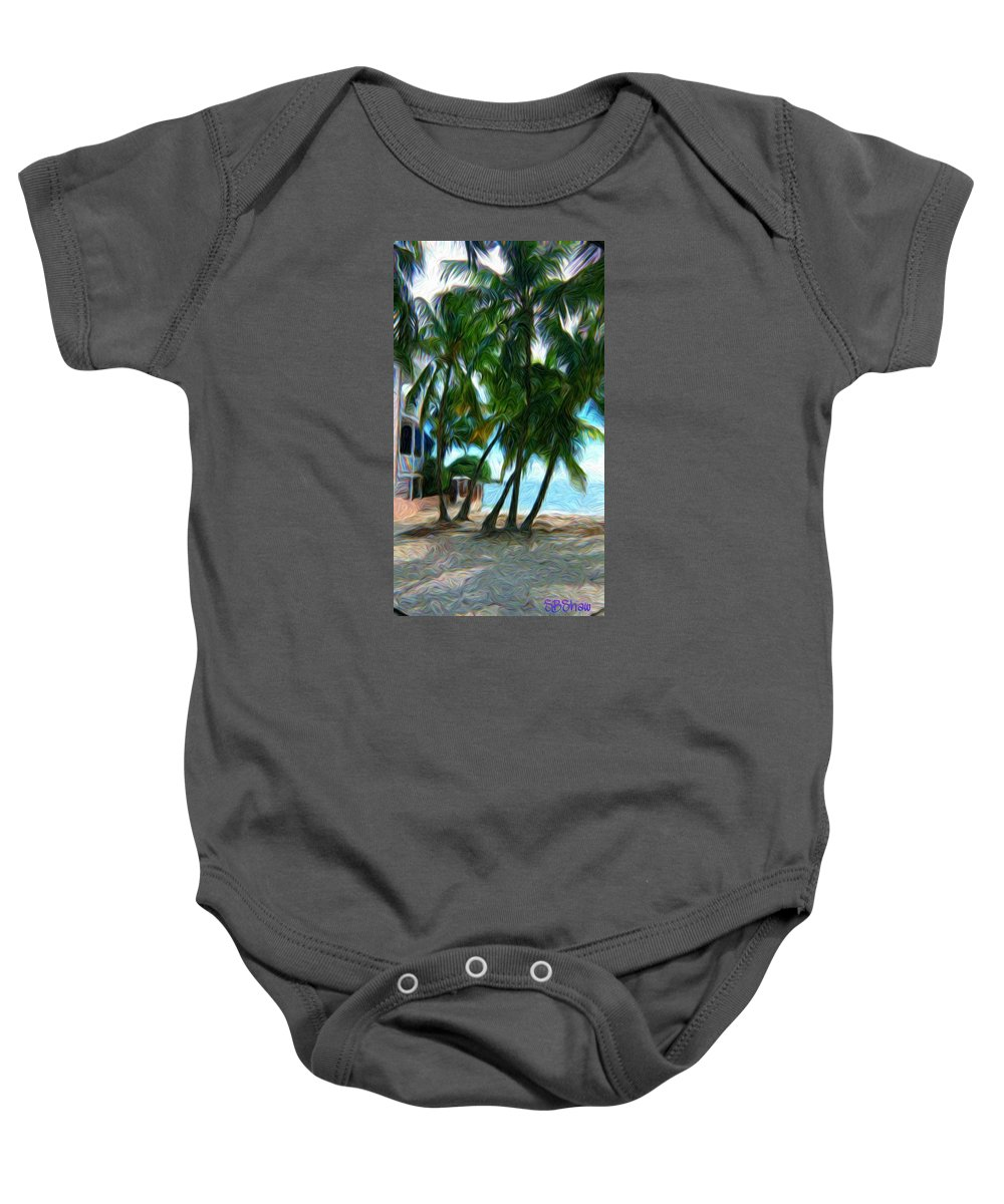 Tropical Baby Onesie featuring the painting Private Beach by Susie Shaw