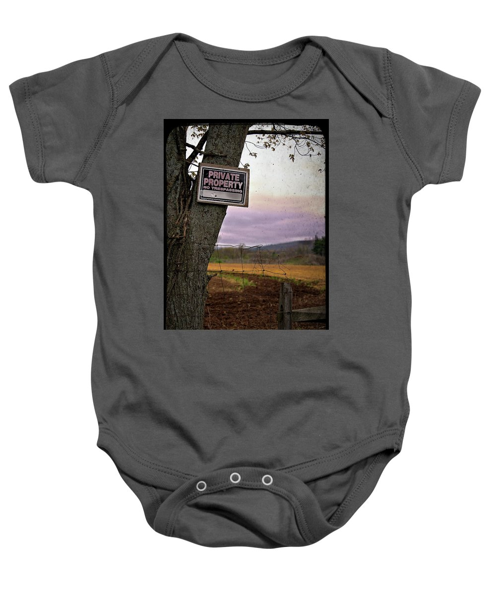 Sign Baby Onesie featuring the photograph Private Property by Valerie Cartier