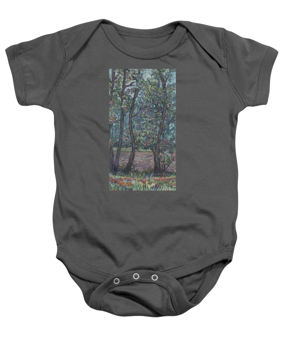 Landscape Baby Onesie featuring the painting Provence Flowers by Nadine Rippelmeyer