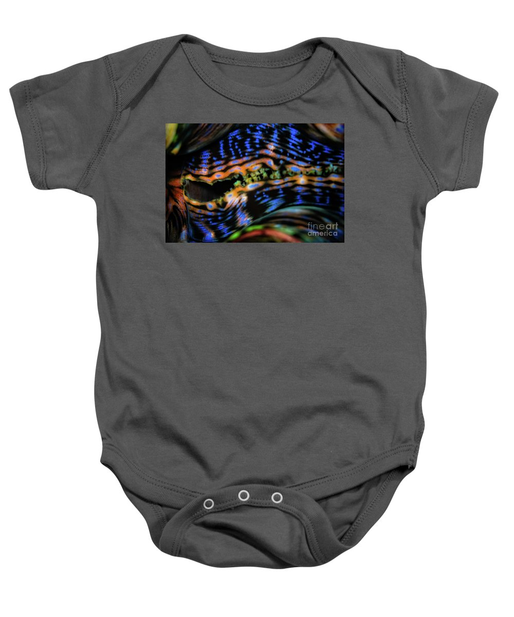 Clam Baby Onesie featuring the photograph Psychedellic Clam by Doug Sturgess