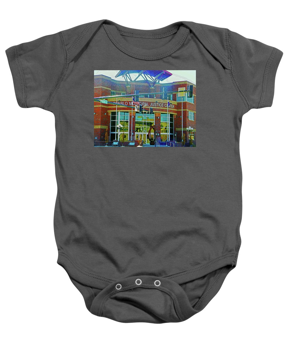 Abstract Baby Onesie featuring the photograph Pueblo Municipal Justice Center by Lenore Senior