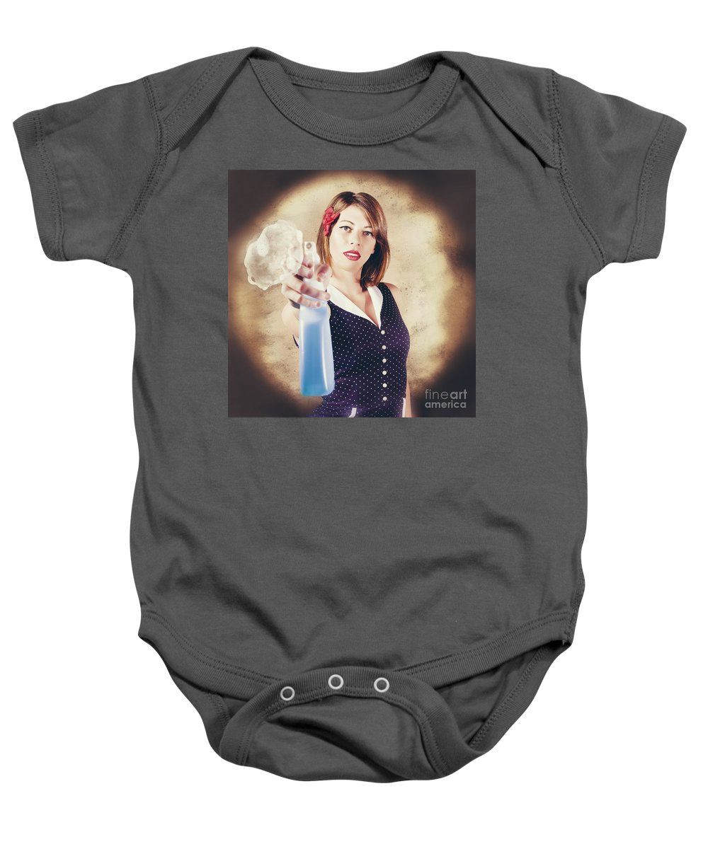 Cleaner Baby Onesie featuring the photograph Pump Action Pin Up Woman Killing Glass Grime by Jorgo Photography - Wall Art Gallery