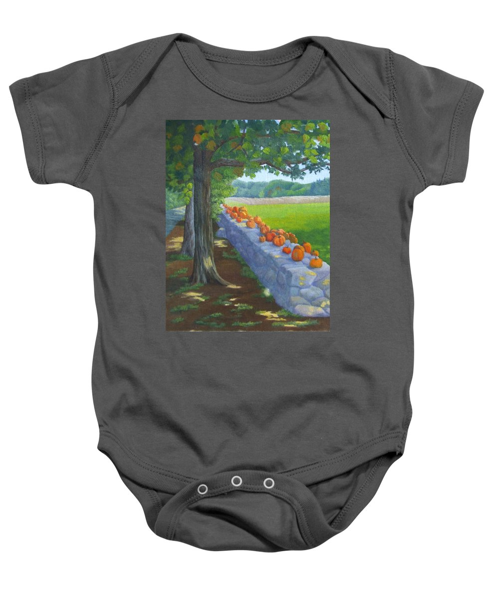 Pumpkins Baby Onesie featuring the painting Pumpkin Muster by Sharon E Allen