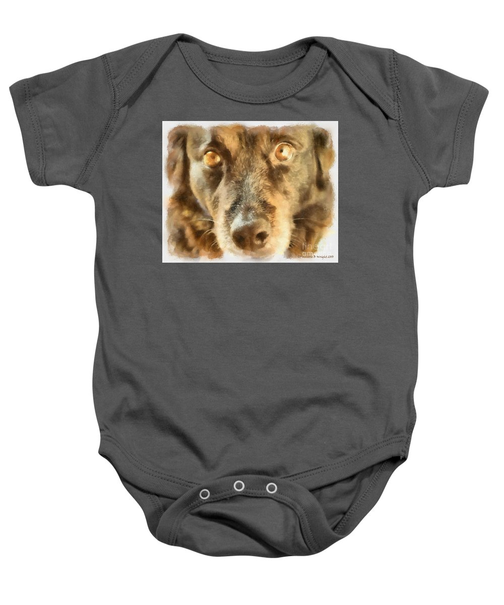 Dog Baby Onesie featuring the photograph Puppy Eyes by Paulette B Wright