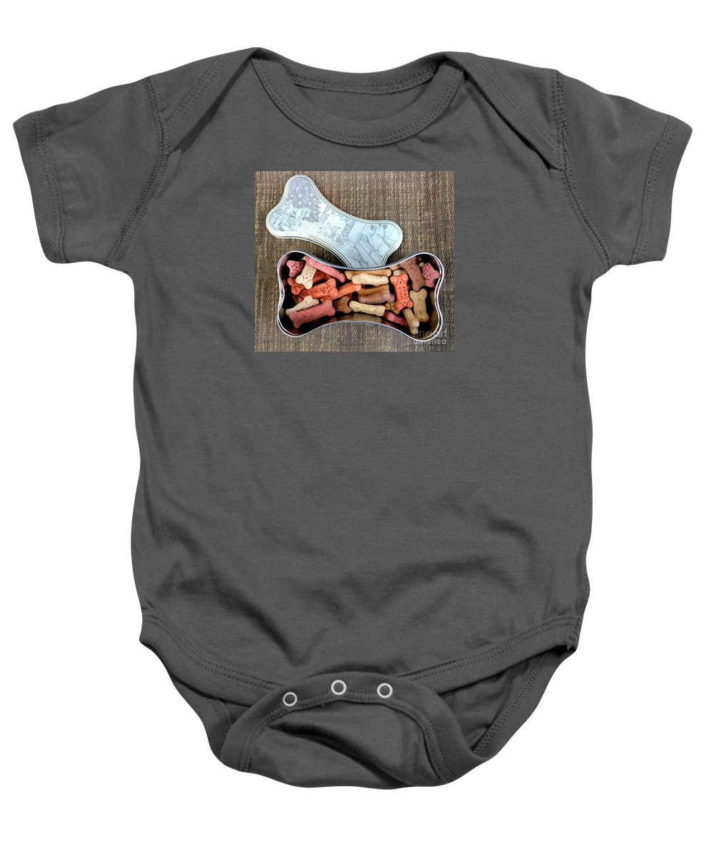 Puppy Treats Baby Onesie featuring the photograph Puppy Treats by Barbara Griffin