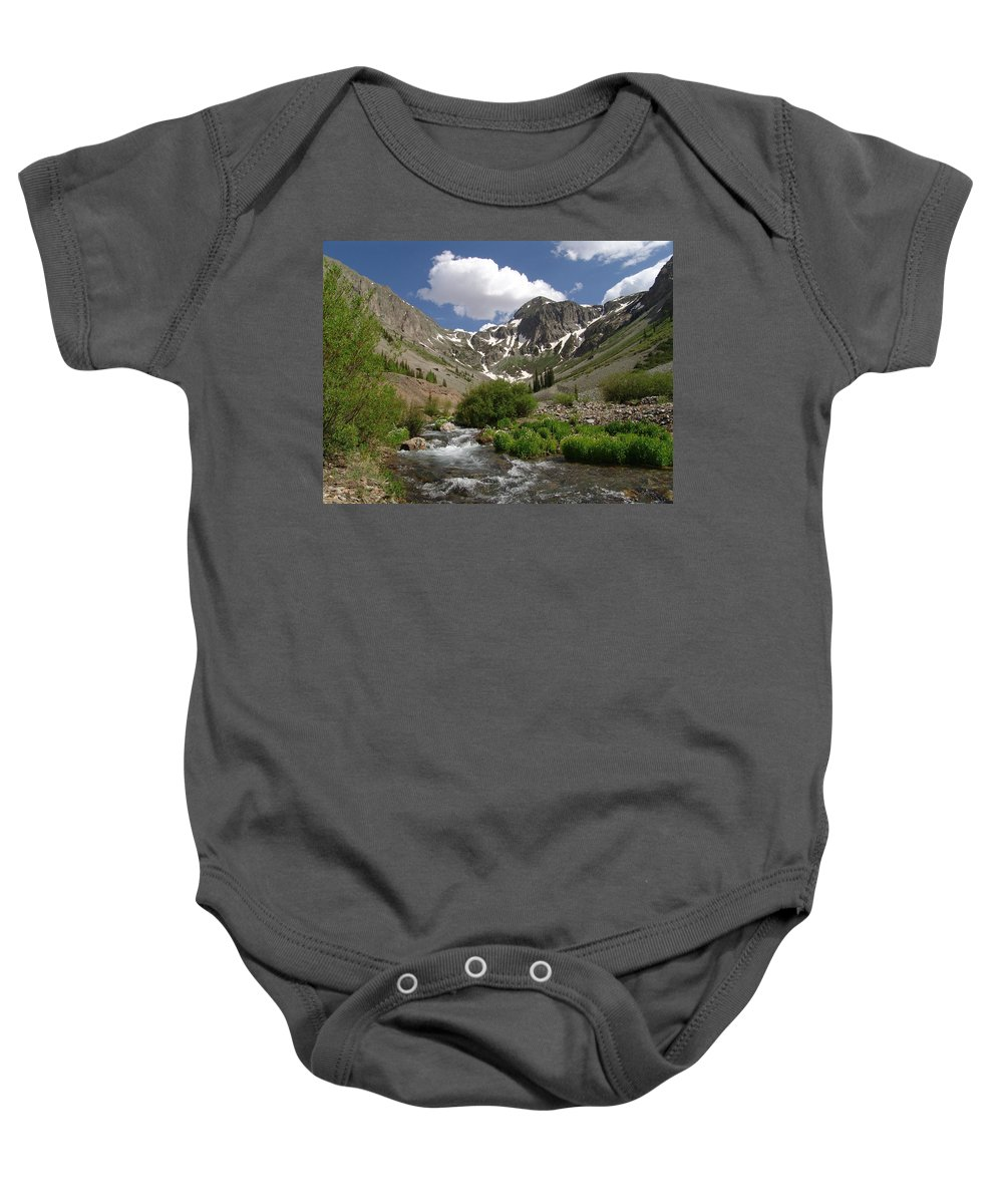 Trees Baby Onesie featuring the photograph Pure Mountain Beauty by Carol Milisen