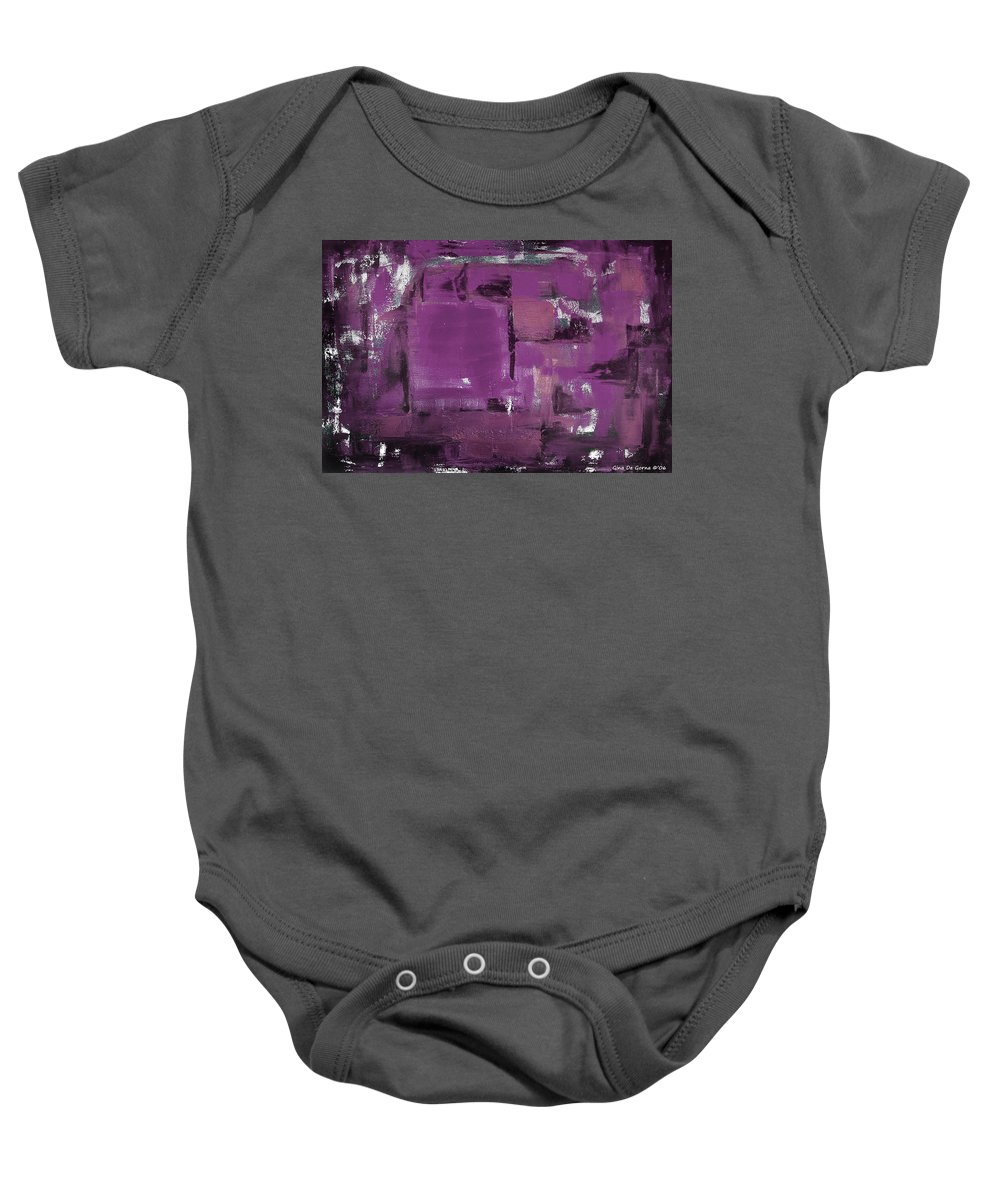 Abstract Baby Onesie featuring the painting Purple Abstract by Gina De Gorna