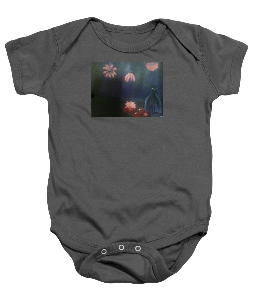 Still Life Baby Onesie featuring the painting Purple by Christine Daffie